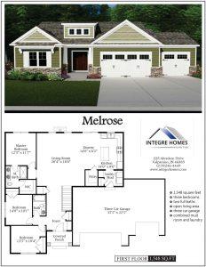 Melrose 3 car, ranch floor plan, st andrews neighborhood, new chesterton homes, northwest indiana builders,