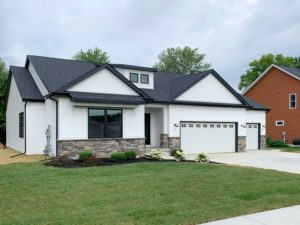 New construction farmhouse ranch floor plan for sale in St. Andrews neighborhood in Chesterton IN
